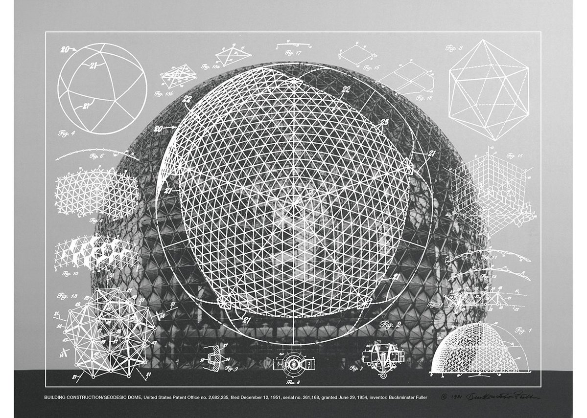 Building Construction/Geodesic Dome, United States Patent Office no 2,682,235, Buckminster Fuller and Chuck Byrne, 1951. Screen print in white ink on clear polyester film. San Francisco Museum of Modern Art.
