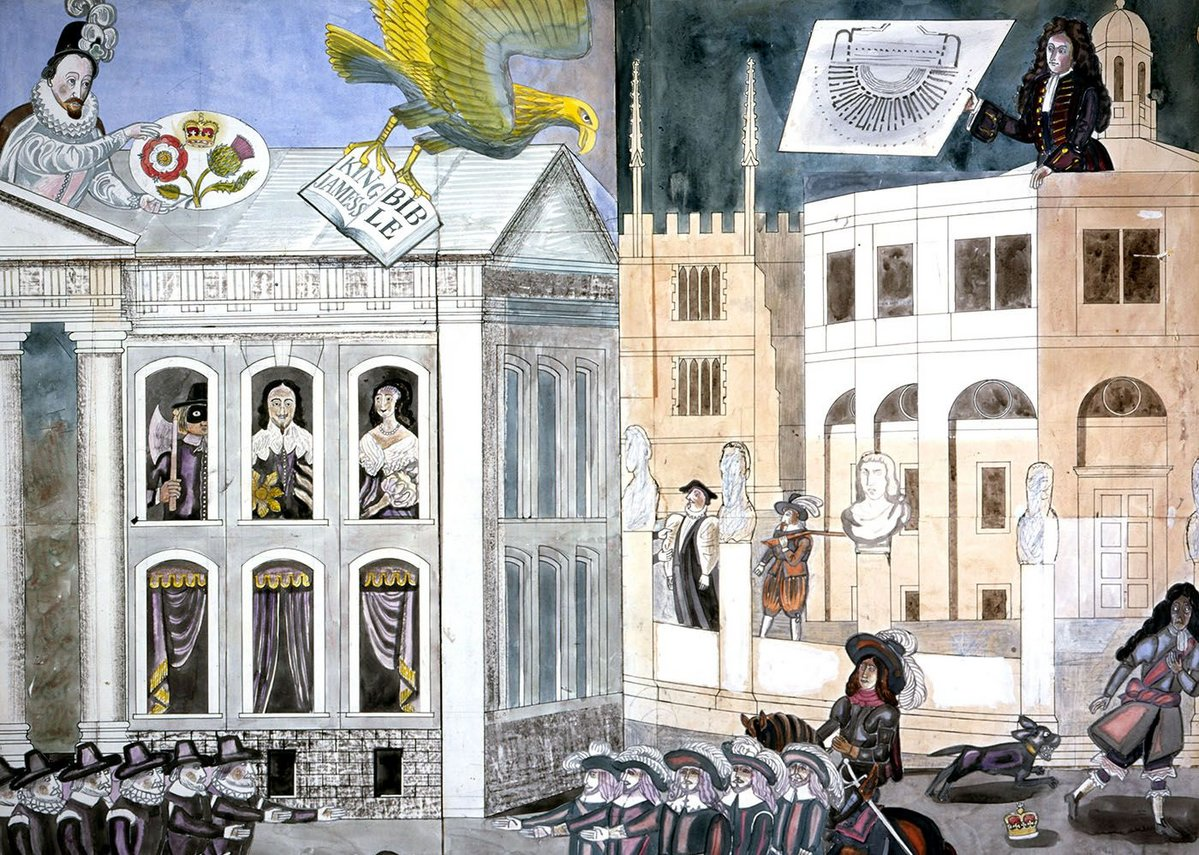 Cartoon for murals at Blackwells Bookshop, Oxford with Sir Christopher Wren showing the plan of the Sheldonian Theatre above.