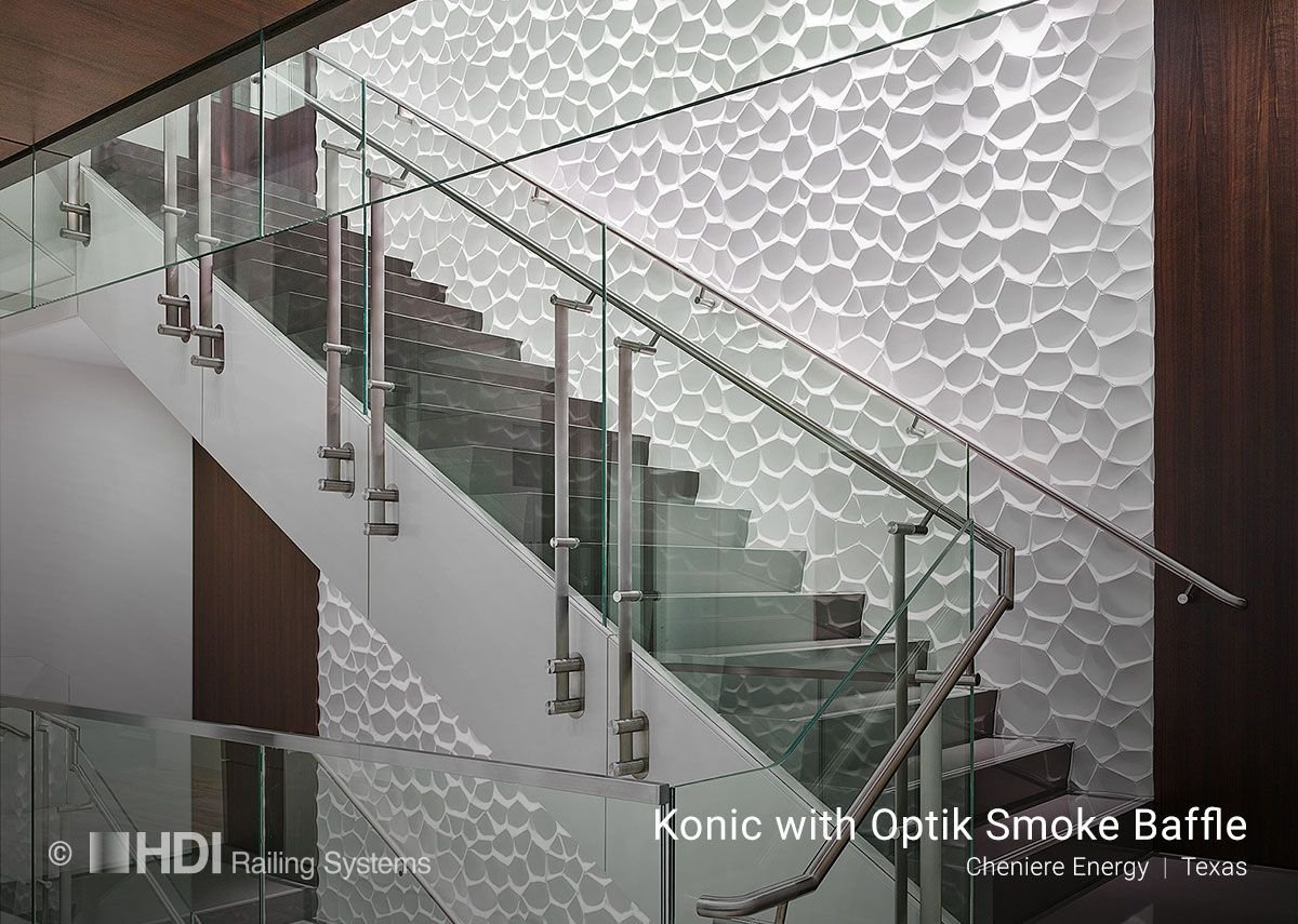 Konic balustrade featuring Optik Smoke Baffle, which provides virtually invisible overhead glass screens to restrict smoke movement and airflow.