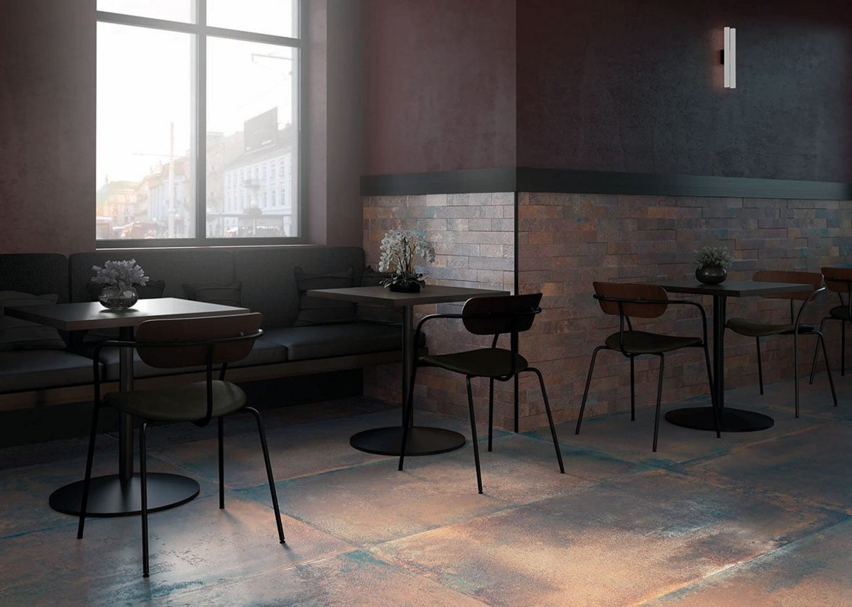 Iron Oxide by Museum is a porcelain floor tile inspired by weathering steel.