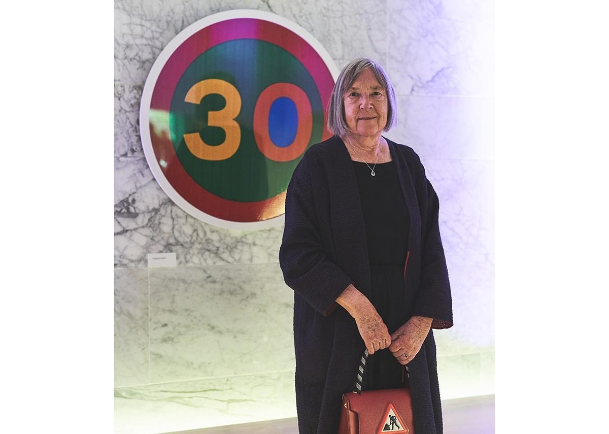 Margaret Calvert with her design for the Design Museum's 30th anniversary. Credit - Felix Speller