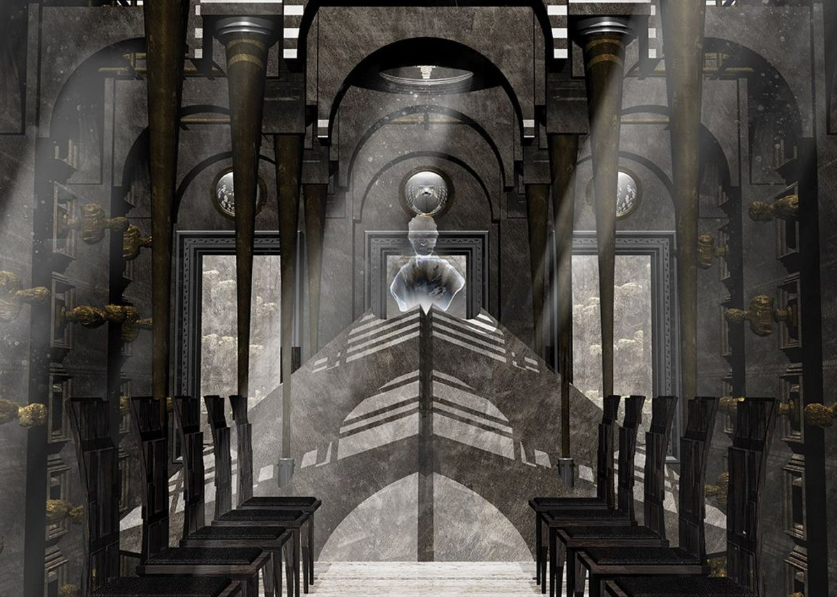 Cenotaph, with golden statues of architects lining the walls beneath an inverted dome.  A hologram machine generates an image  of Soane.