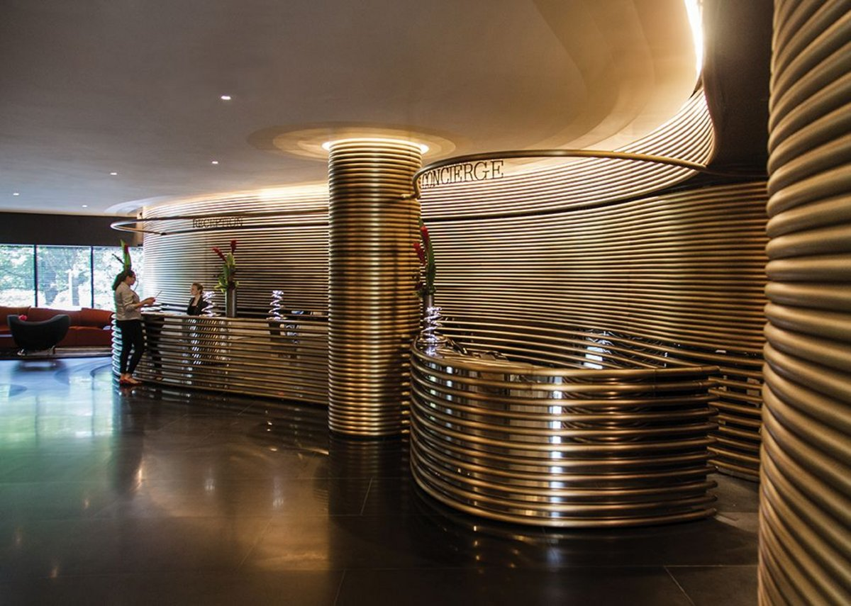 Tubular belles: Arad's copper, brass and bronze tubes use rich materials to complement Moretti's luxurious brutalism.