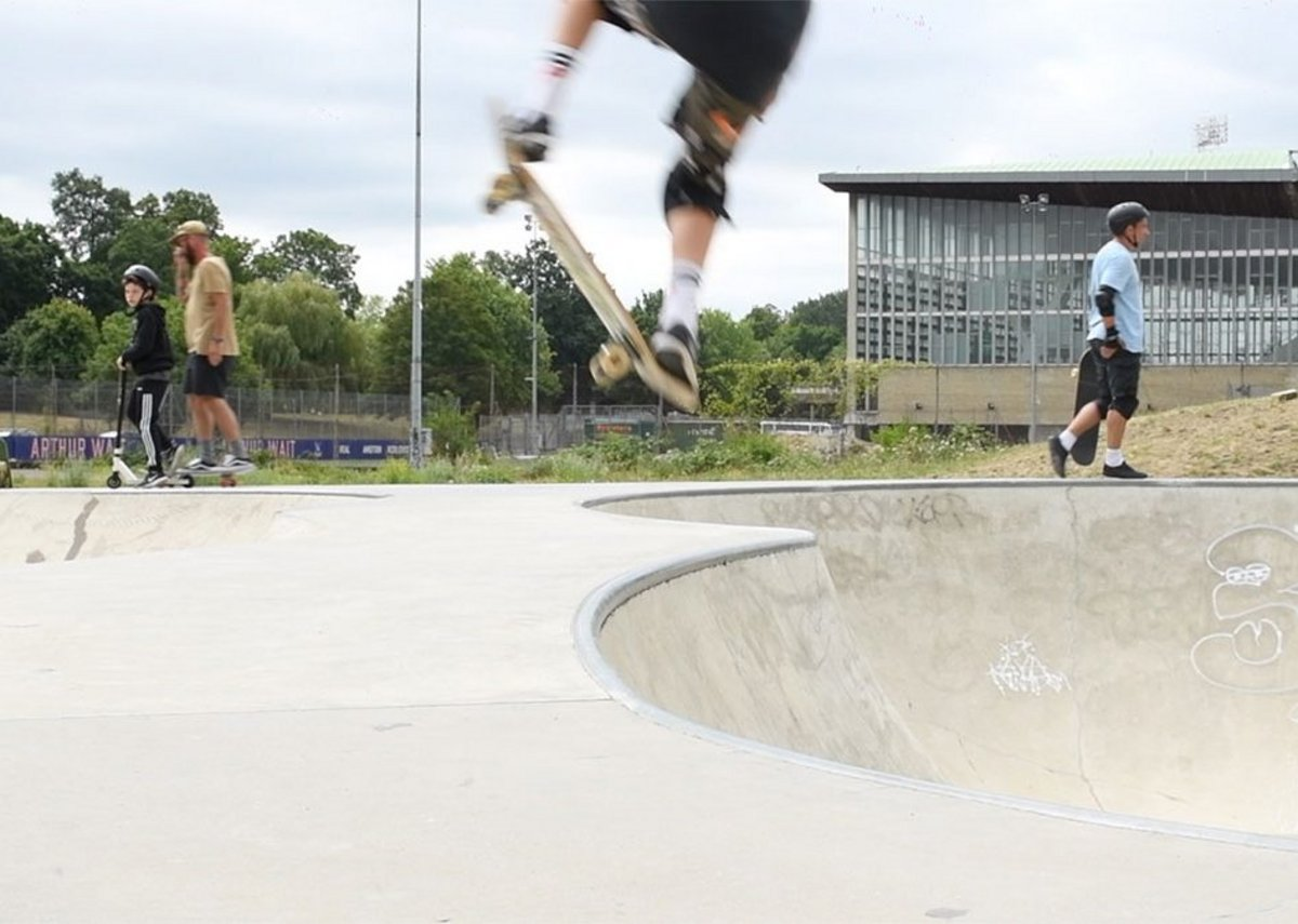 Still from the Open House film by Jim Stephenson on Crystal Palace SkatePark, Bromley.