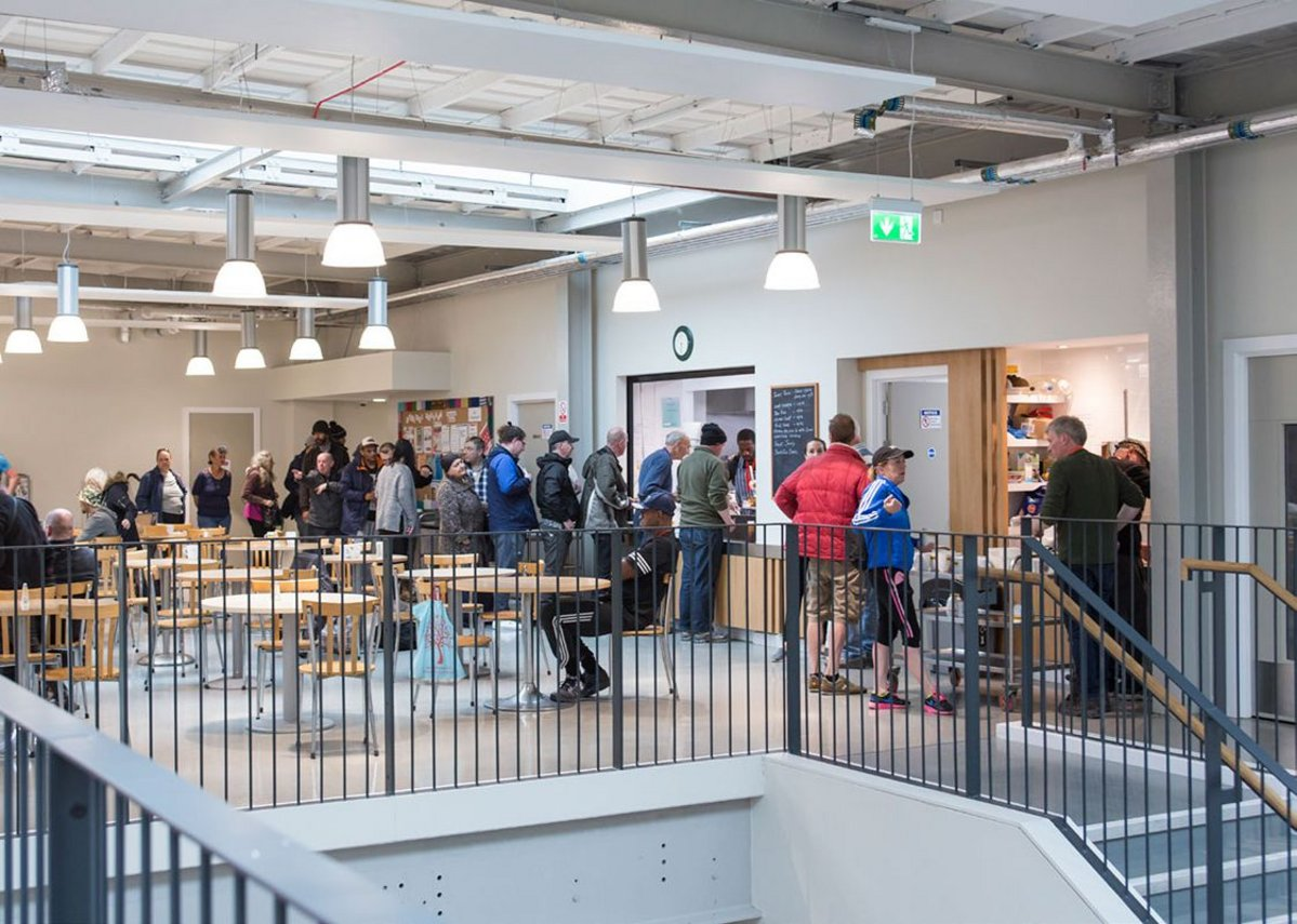 Inside at the café and food bank. The building has dramatically increased the charities ability to help out locals. MacEwen Award 2019 shortlisted Mustard Tree, Ancoats, Manchester by OMI Architects