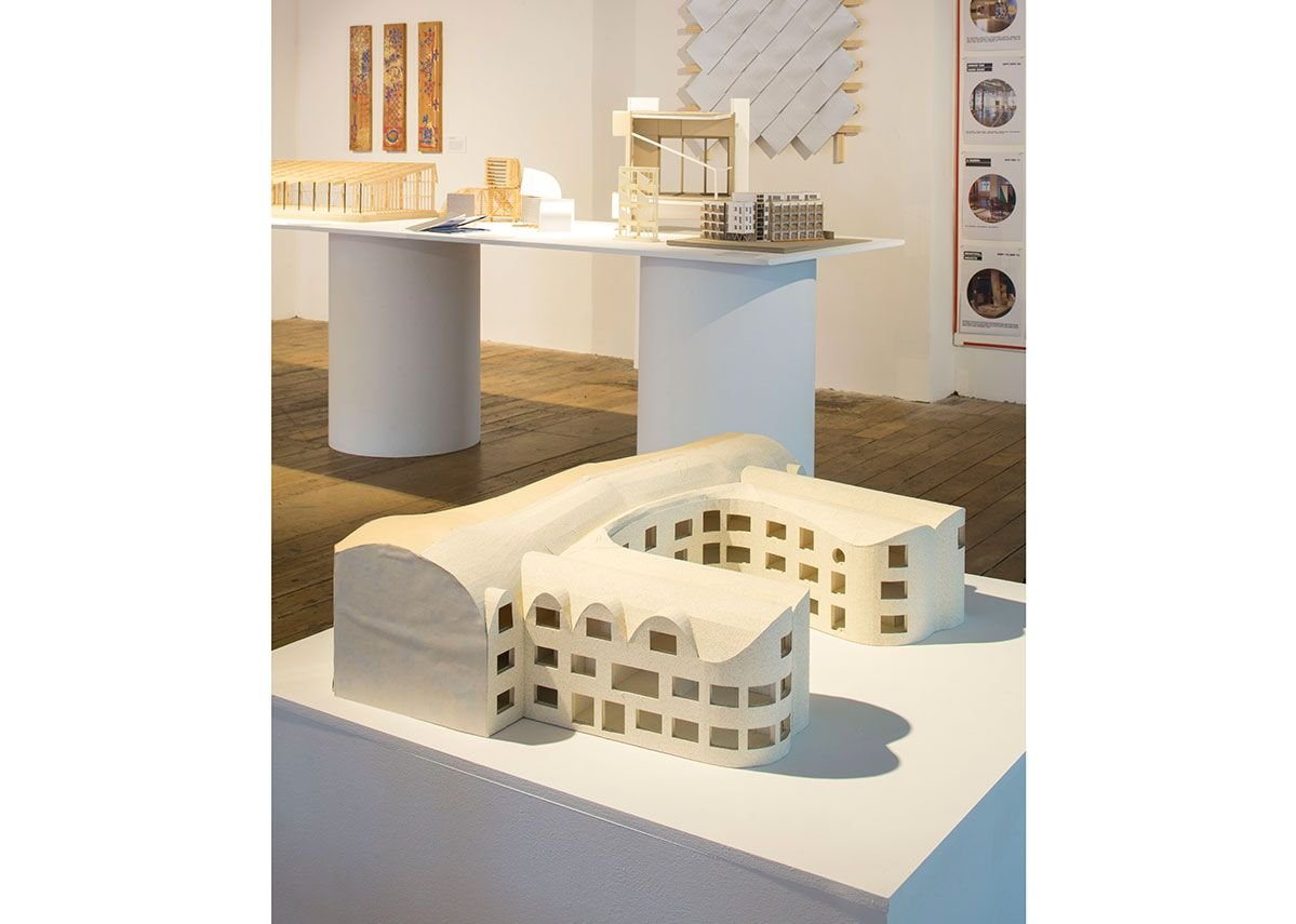 Installation view of Architecture Prototypes & Experiments. In the foreground is a working model for David Kohn Architects' New College Oxford, due for completion in 2021.