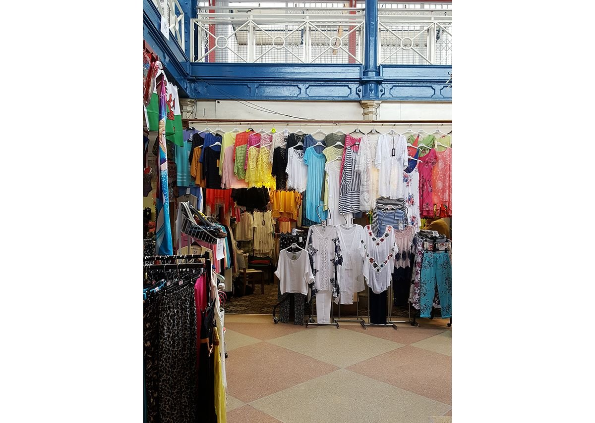 Clothes stall at Newport Market.