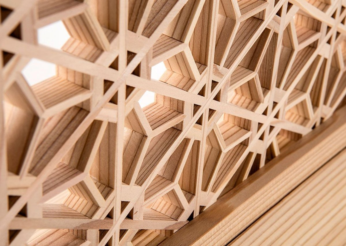 All about materials: Delicate kumiko work by Japanese company Tanihata. Kumiko is a sophisticated technique of assembling wood pieces without nails.