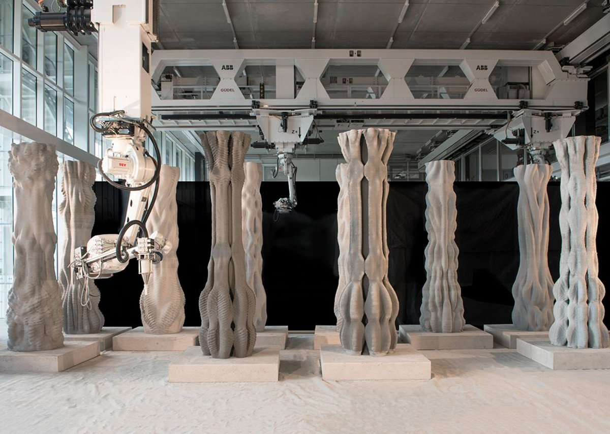 Columns inside The Robotic Fabrication Lab at ETH Zurich.