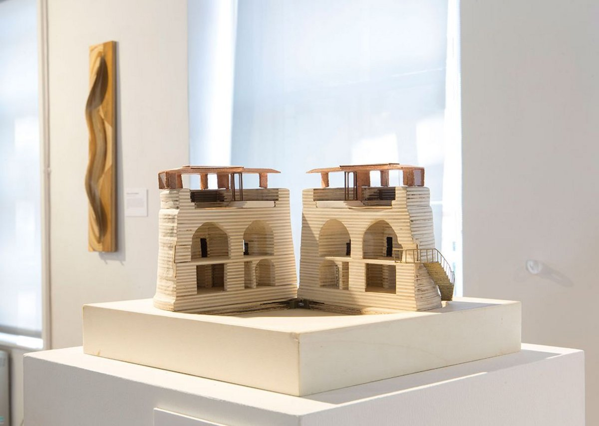 Installation view of Architecture Prototypes & Experiments showing Piercy & Company's opening sectional model of a project to refurbish a 19th Century Martello Towe, 2010.