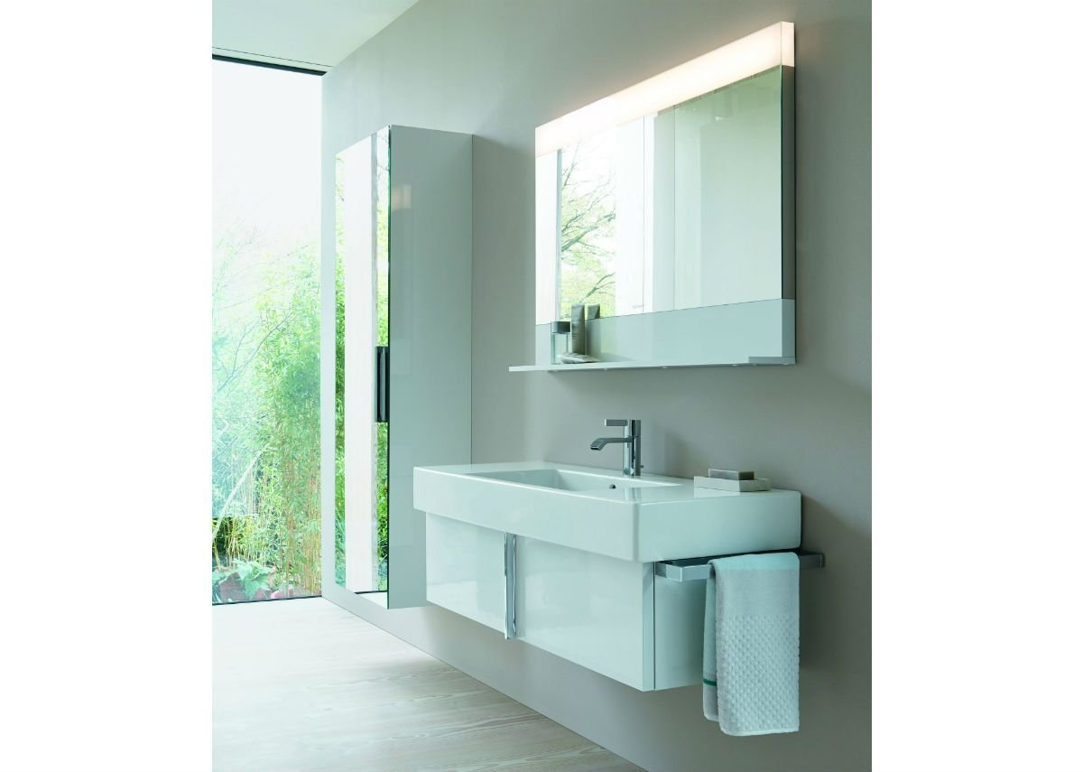 Vero vanity, mirror and tall cupboard in white.
