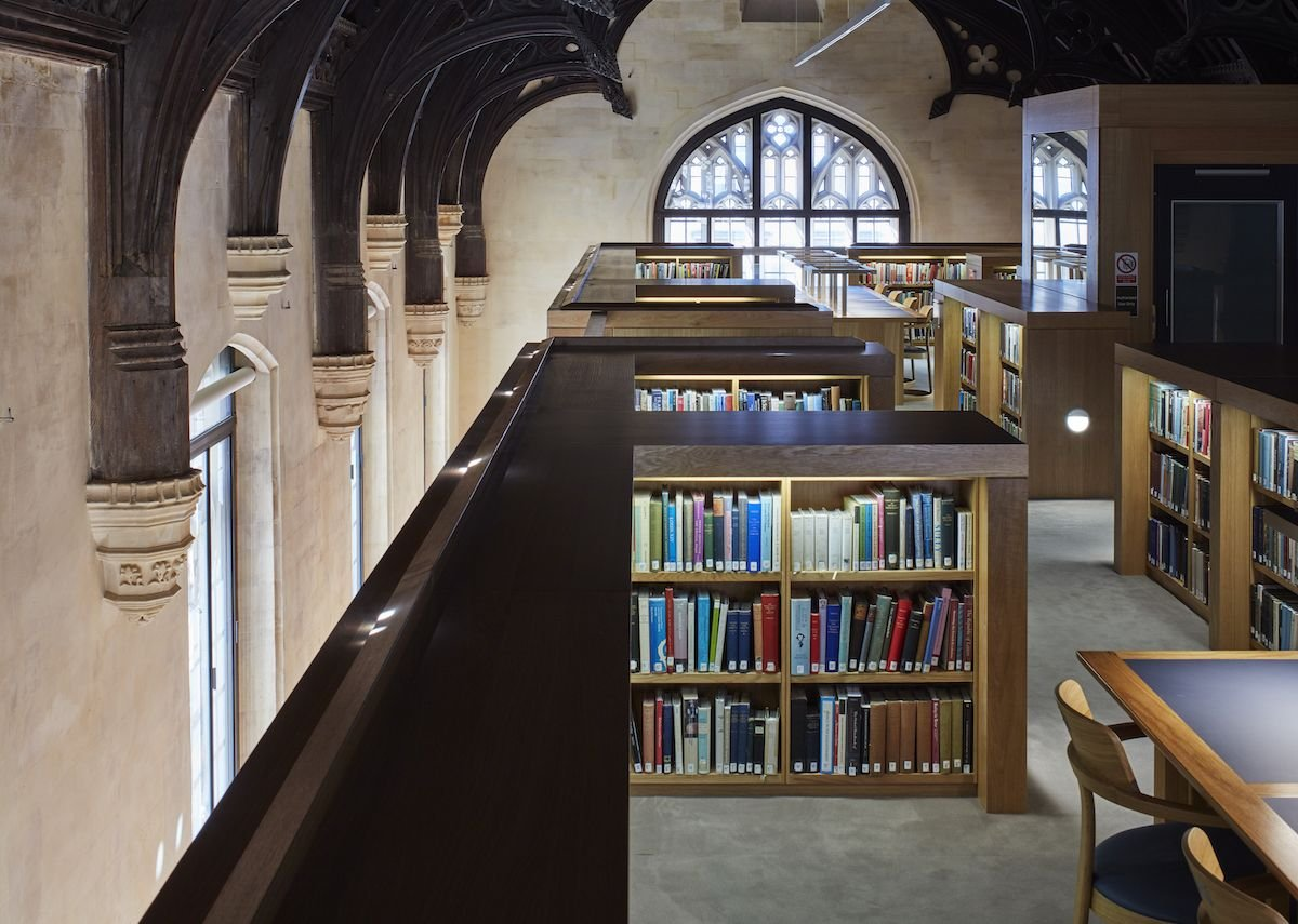 The freestanding library 'box' inside the old building.