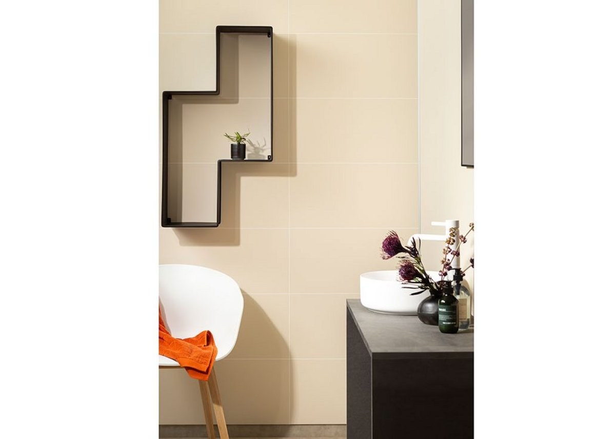 Fibo laminate wall panels in Light Sand from the Contemporary Tile Effect range.