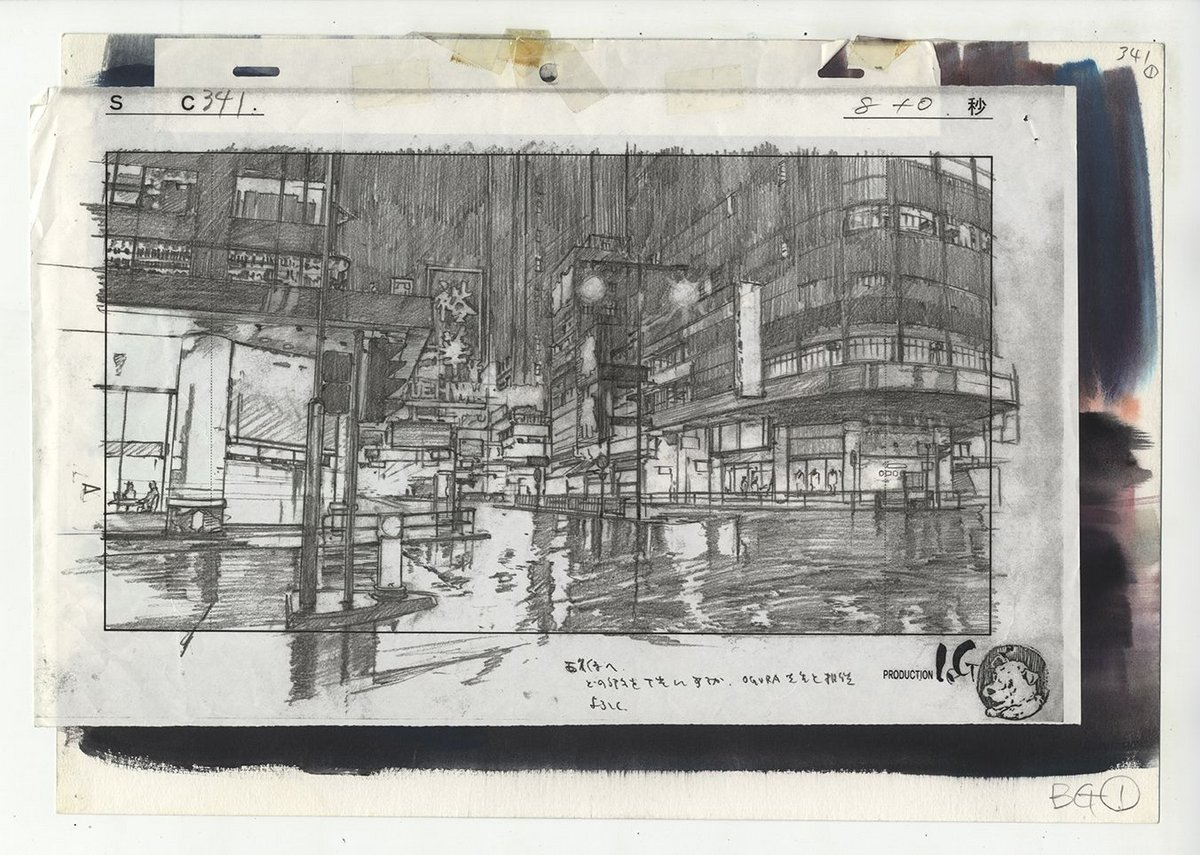 Layout for Ghost in the Shell cut 341 by Atsushi Takeuchi.