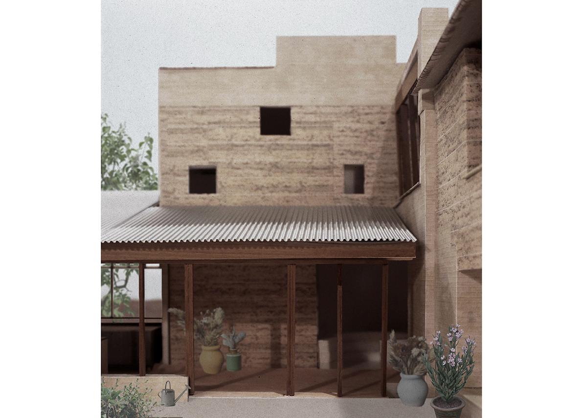 Collage of The Brickyard, a rammed earth country house designed by Jonathan Tuckey Design on a former brickworks. Collage: JTD