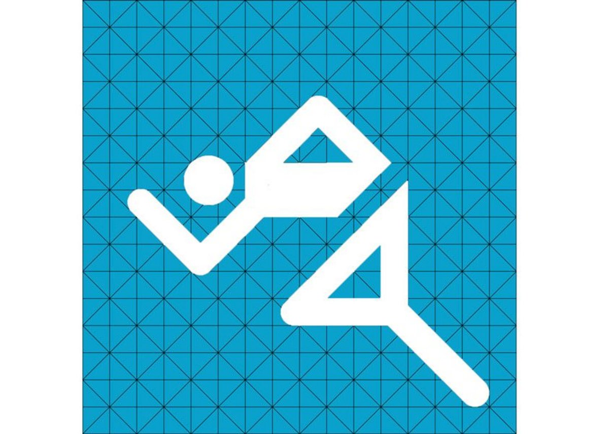Pictogram 0605 (athletics), designed by Otl Aicher for the 20th Summer Olympics in Munich, 1972.