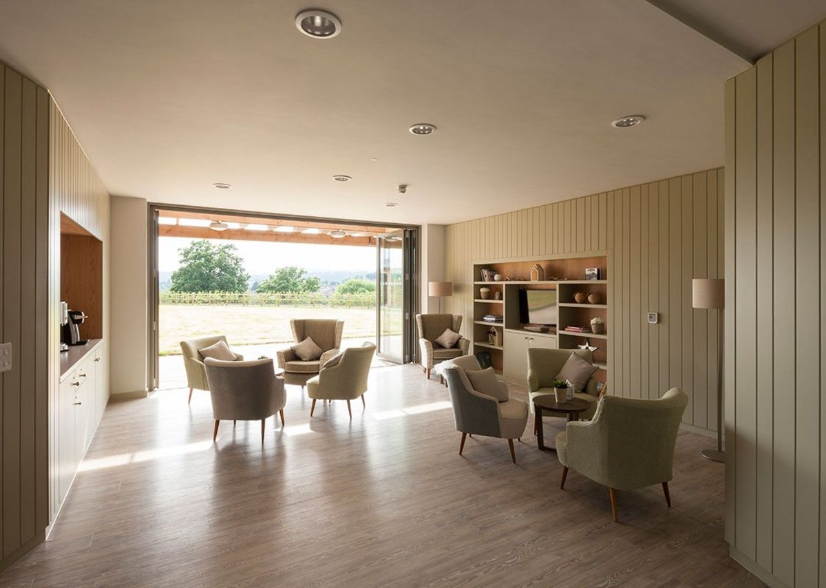 Day room. MacEwen Award 2019 shortlisted KKE's St David's Hospice Inpatient Unit, Newport, Wales.