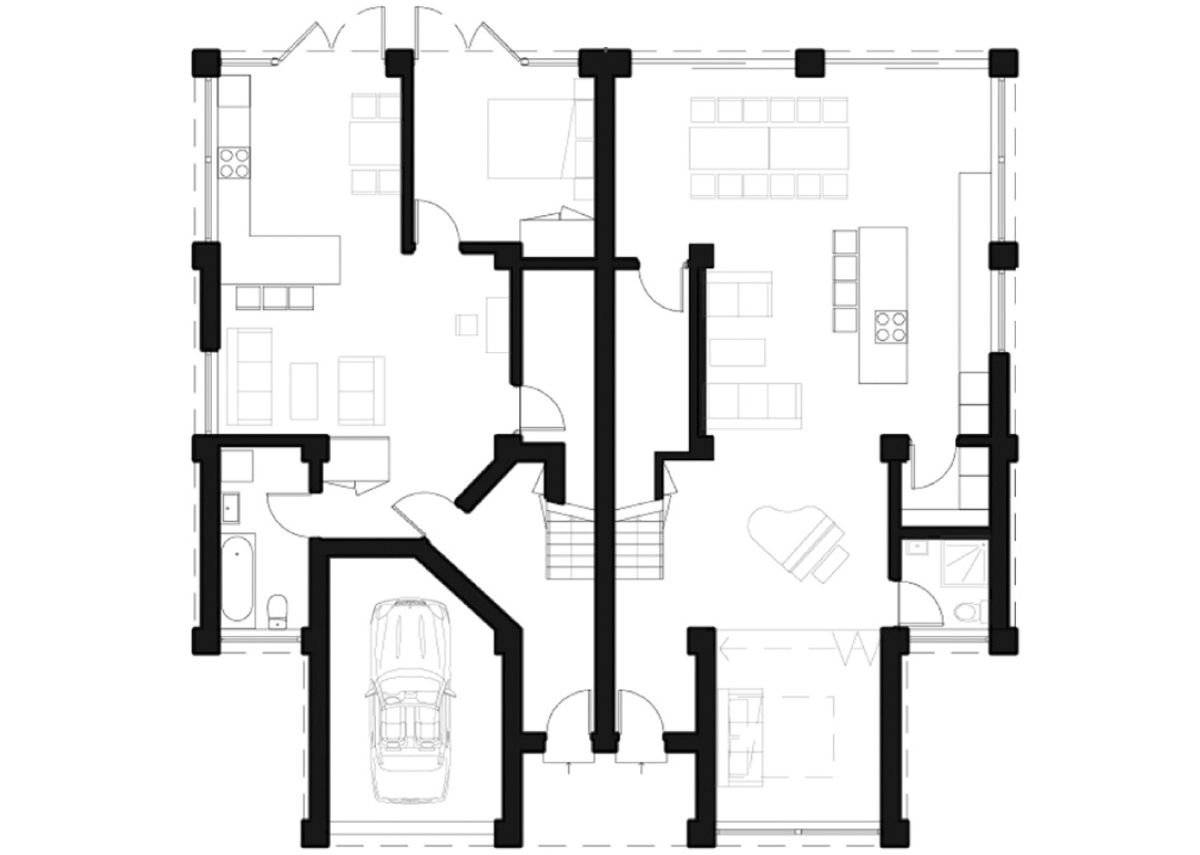 Ground floor plan of an annexe flat adaptation, including a bedroom, bathroom, reception rooms and a garage.