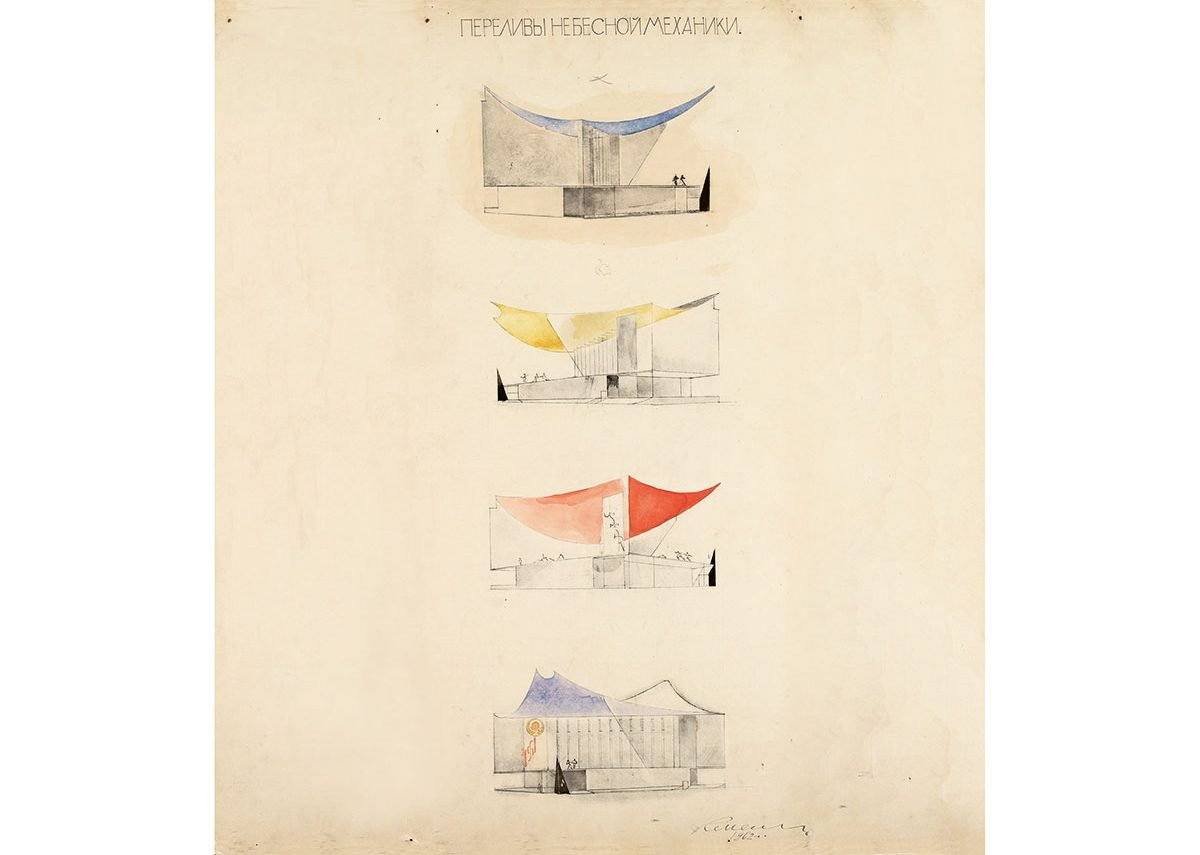 Konstantin Melnikov. Project of USSR pavilion for New York 1964 Exhibition. Variations.