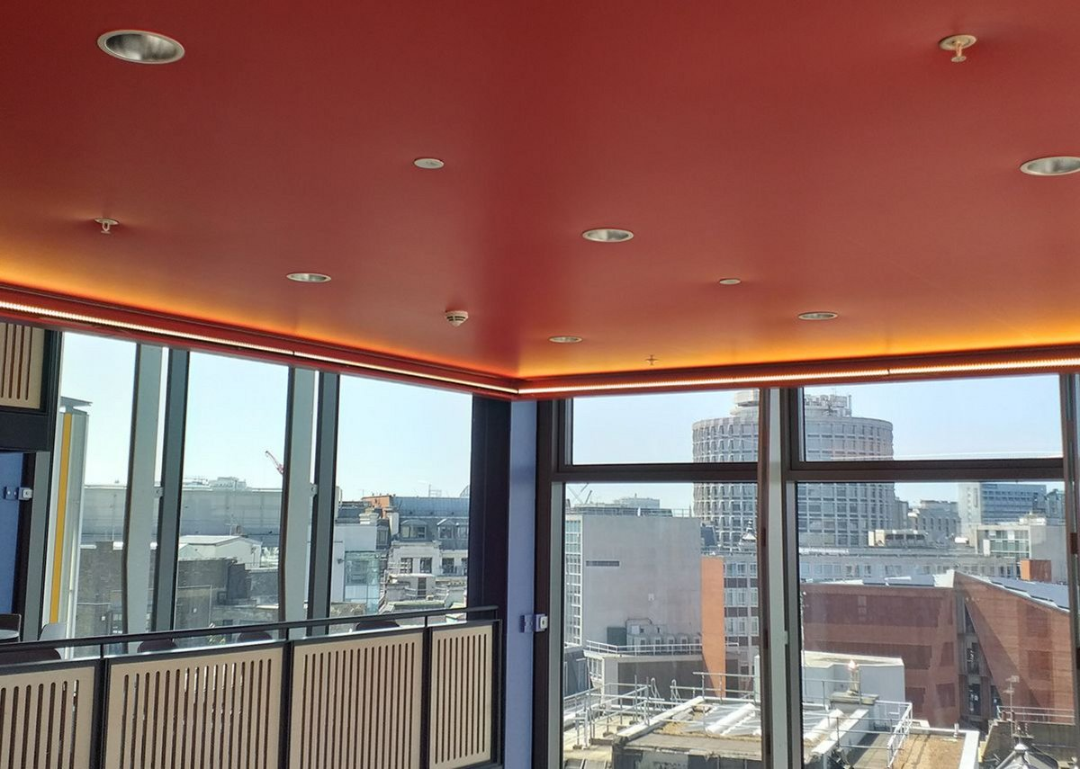 QIC Trims' perimeter detail was used to support the specialist stretch ceiling and lighting.