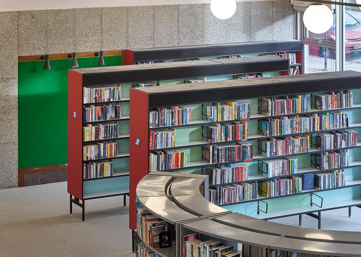 1960s original shelving has been restored, but lighting has been replaced with LED versions inspired by the original.