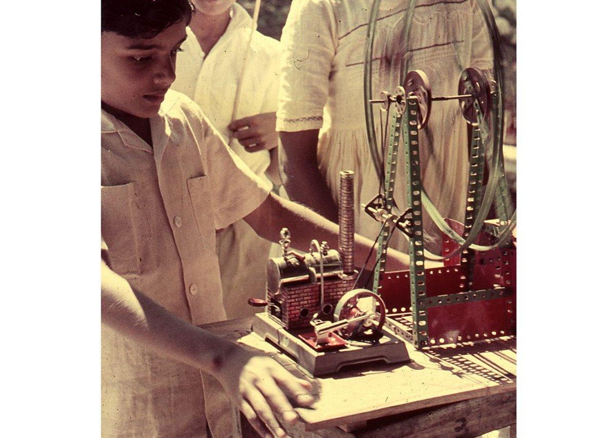 Sunand Prasad with Meccano and steam engine, 1961.