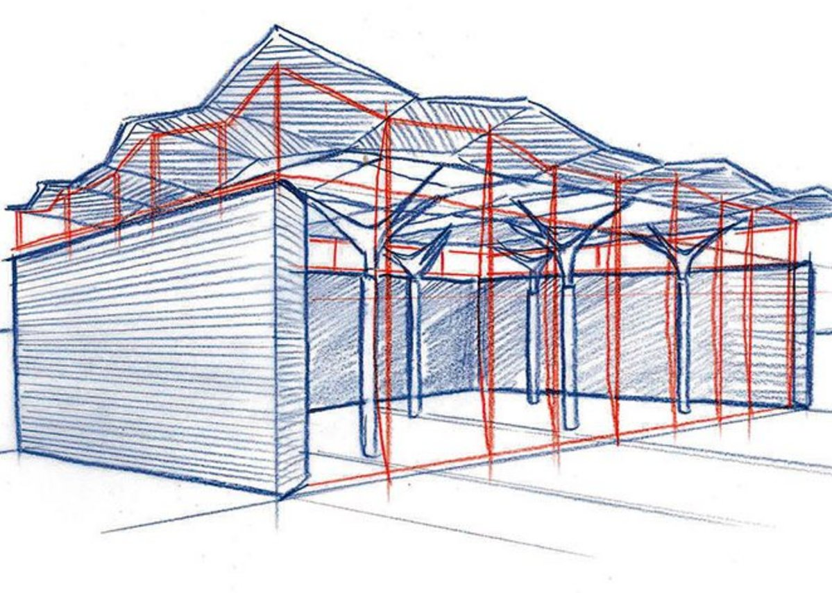 The roof is raised up on steel 'trees' giving a clerestory right around the first floor.