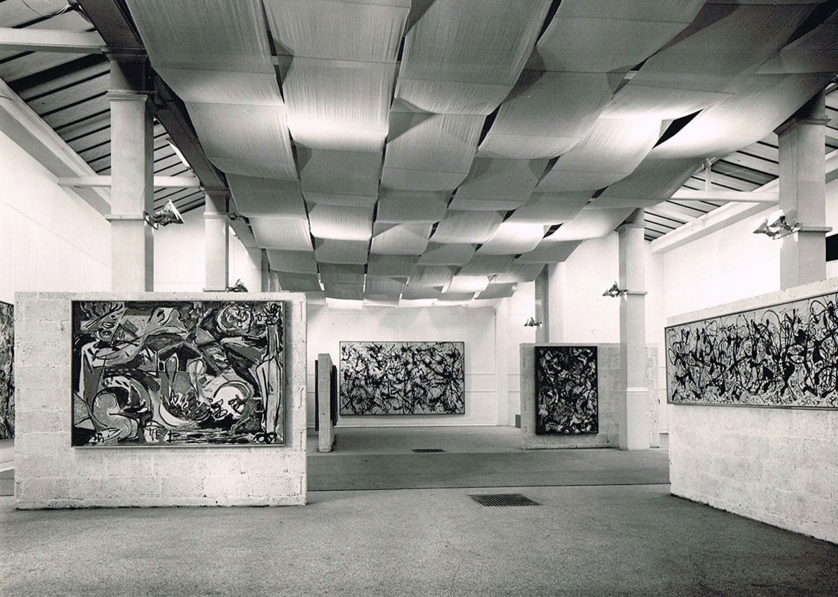 Installation view of Jackson Pollock exhibition 1958, designed by Trevor Dannatt at the Whitechapel Gallery.