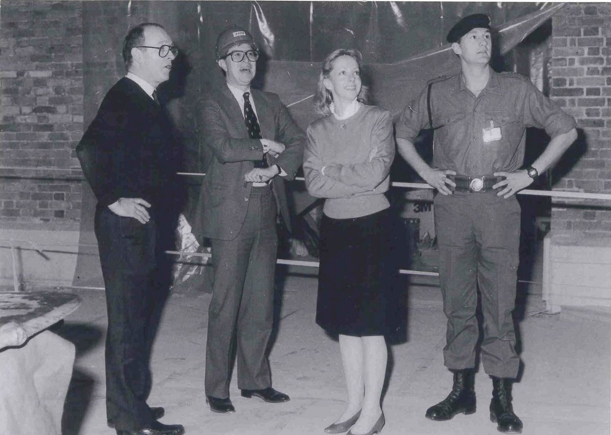 Dangerfield, left, with Alan Borg and clients at the Imperial War museum in the late 1980s.