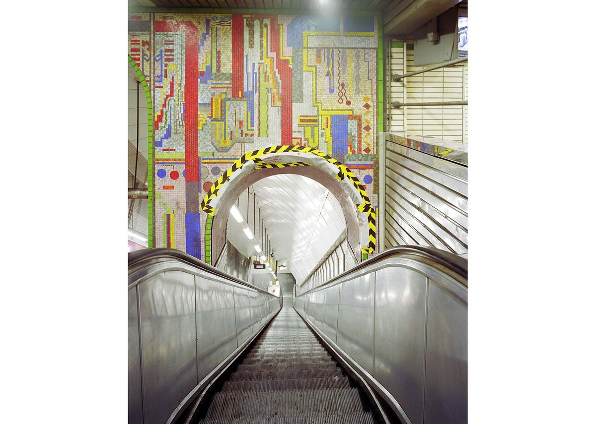 Entering the depths at Tottenham Court Road Underground Station through Eduardo Paolozzi's murals prior to dismantling, 2015.