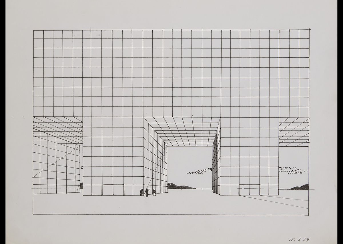 Adolfo Natalilni (Superstudio), Study for the Continuous Monument, 1969.