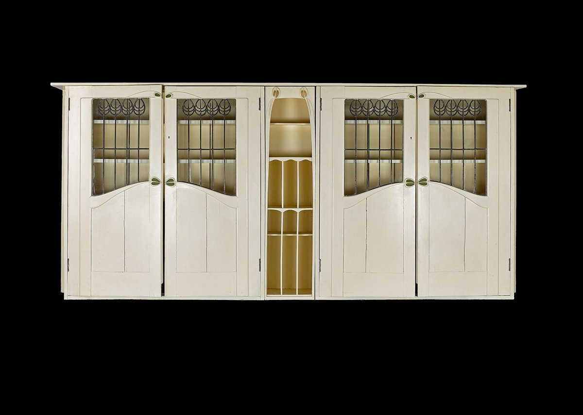 White painted oak bookcase designed by Charles Rennie Mackintosh for Dunglass Castle, Glasgow, 1900.
