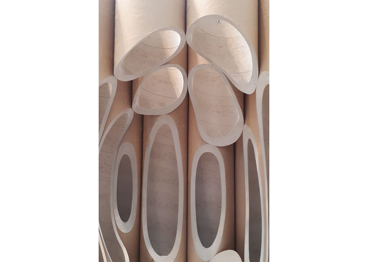 Card tube model of Thomas Heatherwick's Museum of Contemporary Art in Cape Town - carved out of grain silos.