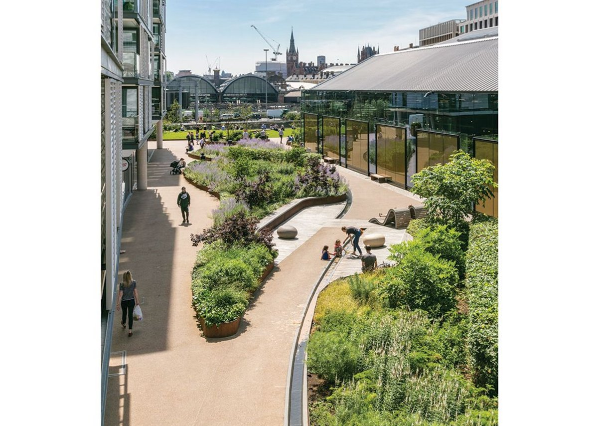 At King's Cross the studio worked on strategy with Townshend Landscape. It also did some public realm design, as here alongside Waitrose.