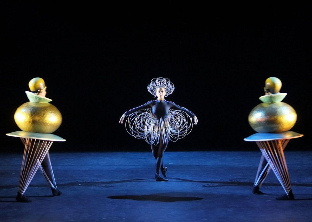Part of the opening festival of Bauhaus100, the Triadic Ballet was a performance of Bauhaus master Oskar Schlemmer's costume ballet from 1922. The Ballet was revived in 1977 by Gerhard Bohner with a new production by Bayerisches Staatsballett II in 2014.