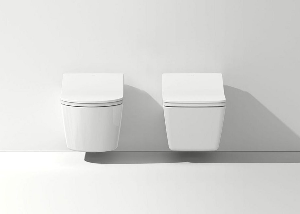 The Washlet RX (left) and Washlet SX feature curved and angled lines respectively.