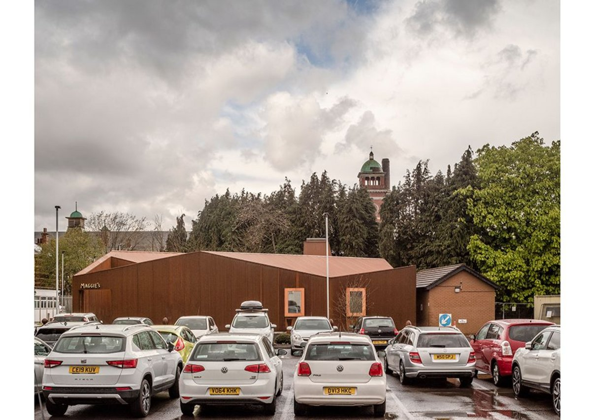 Maggies Cardiff at Velindre Cancer Centre in Whitchurch, designed by Dow Jones, a strong form giving a sense of place to the nowhere land of the car park.