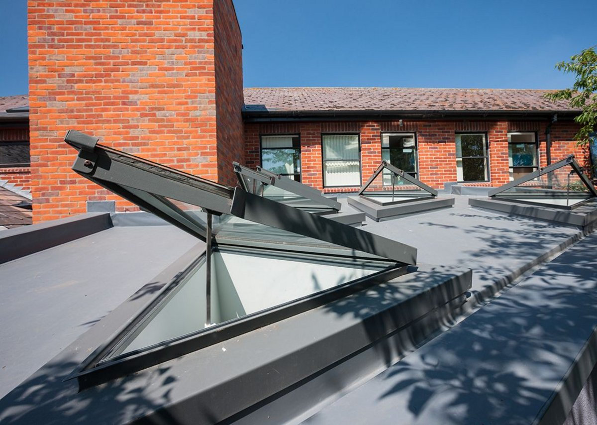 Bespoke triangular rooflights at Beccles Health Centre. LSI Architects.