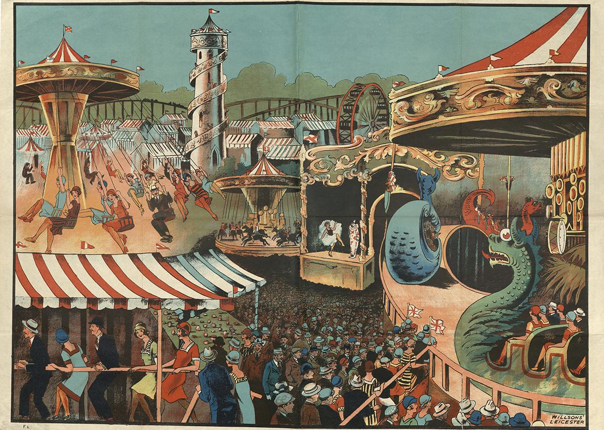 Fairground Scene, Willsons Printers, Leicester 1930s.