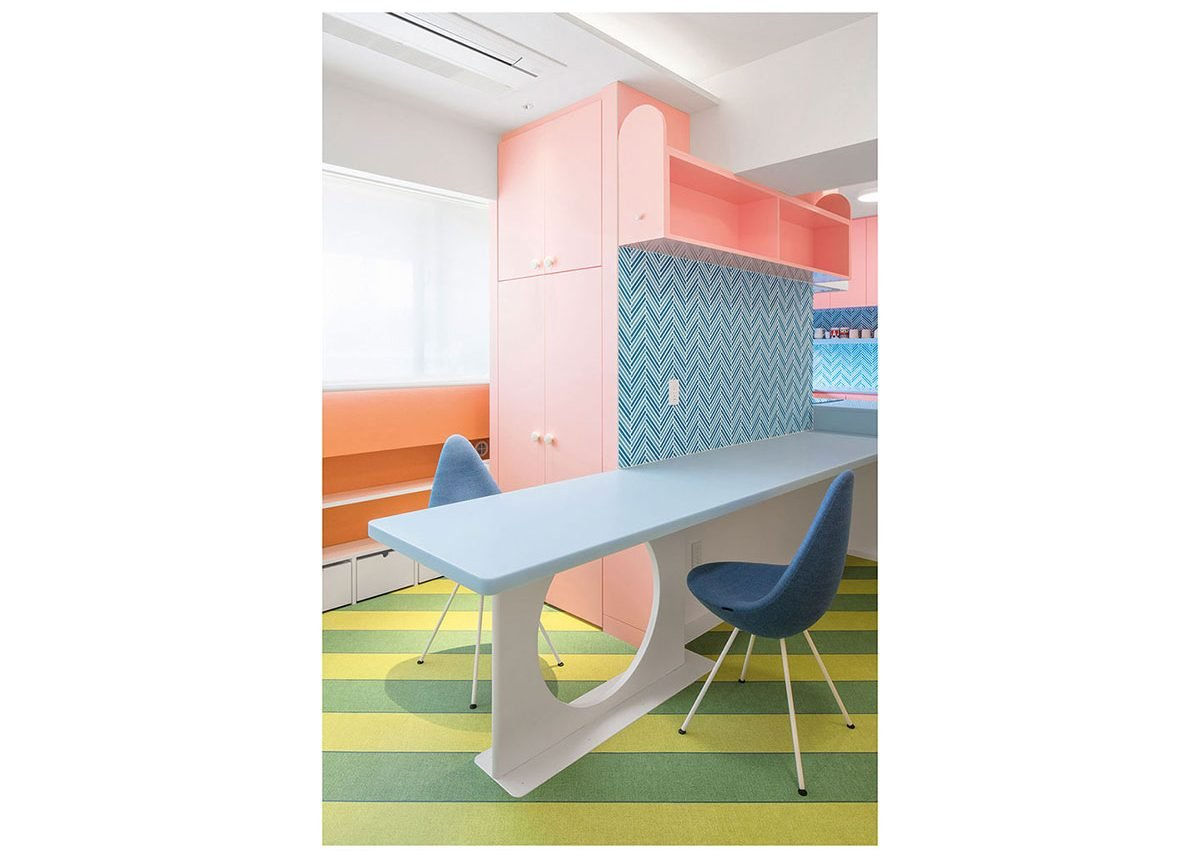 The client's radical tastes meant it was very happy with clashing pastels and patterns.