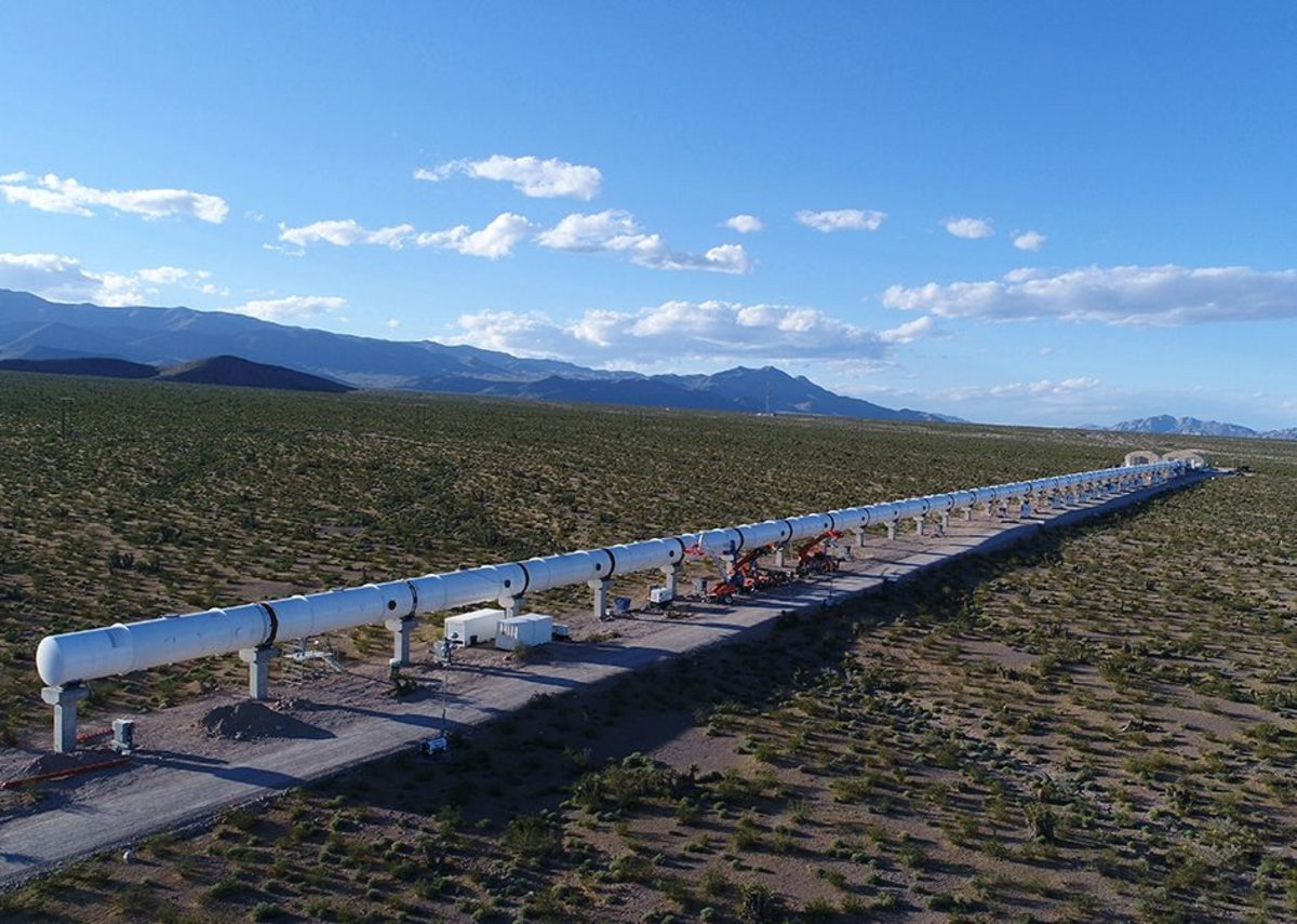 A prototype for Virgin Hyperloop One, a system to transport passenger and freight capsules at high speed designed by Hyperloop One.