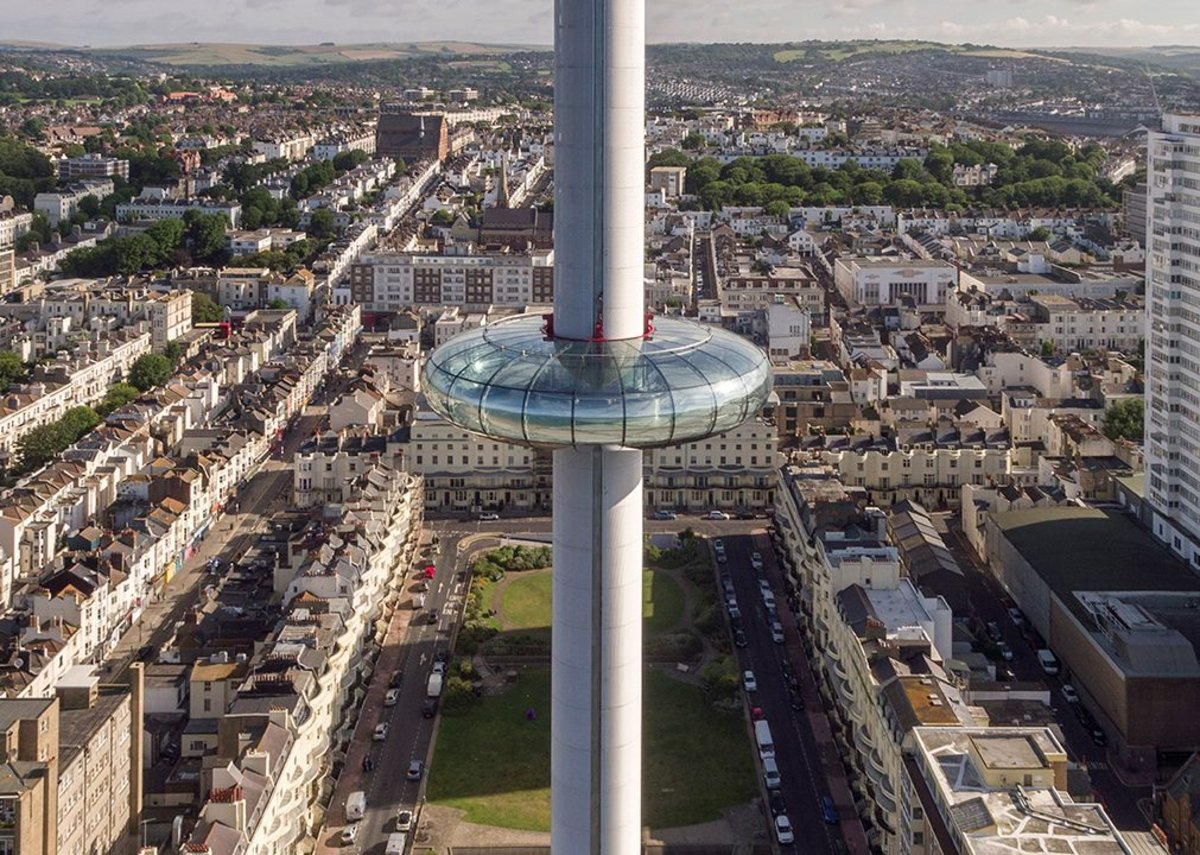 Drone image of British Airways i360 with Regency Square below.