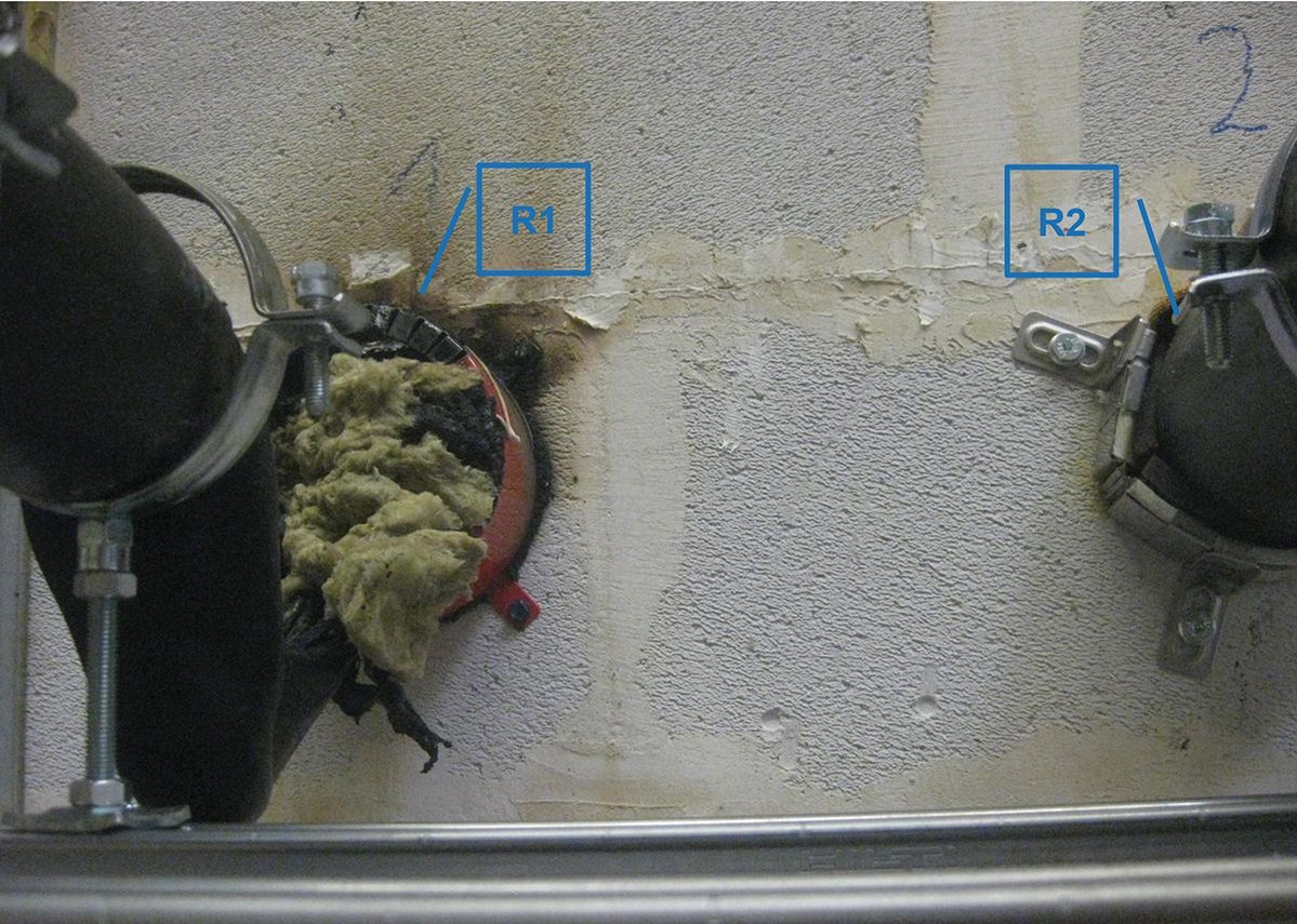 After 60 minutes pipe R1 was alight outside the furnace, mineral wool was inserted but could not stem the  fire, forcing the test to be terminated.