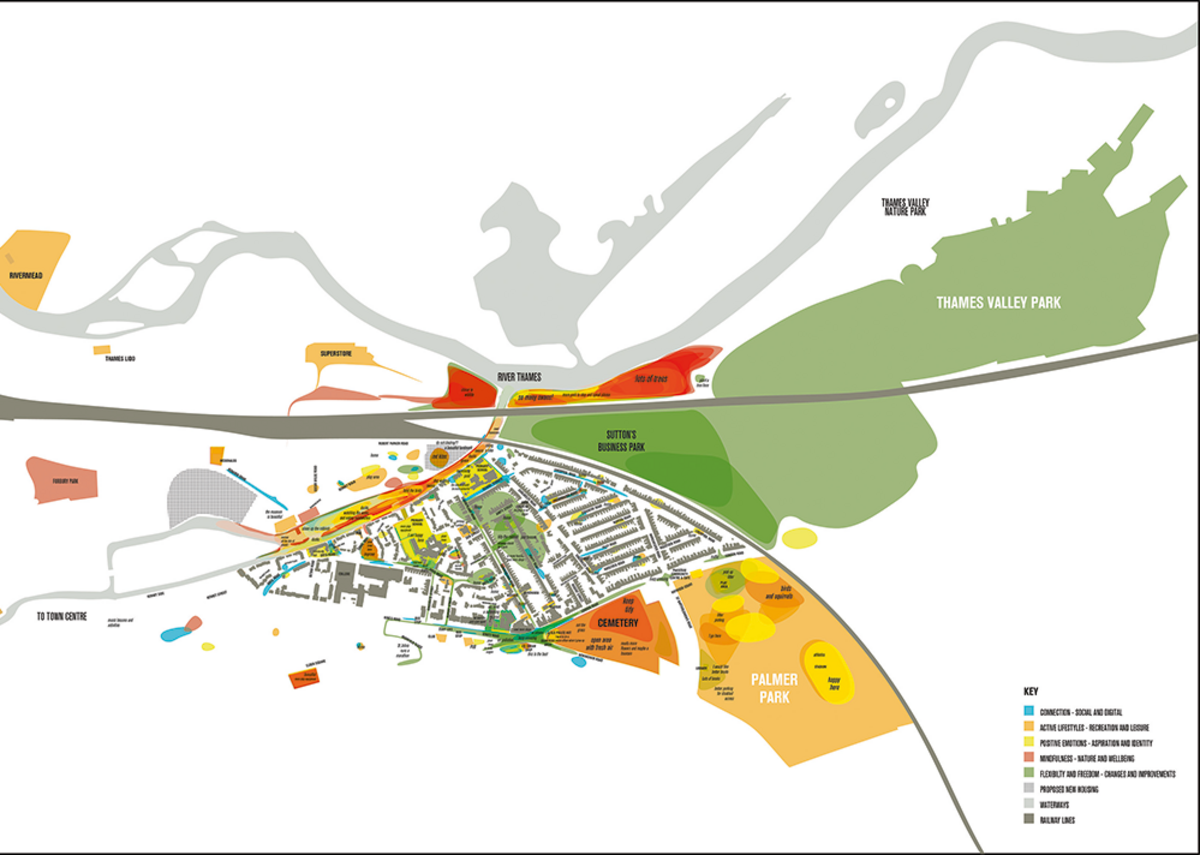 Multi-layered map highlighting different kinds of social value interacting in context.
