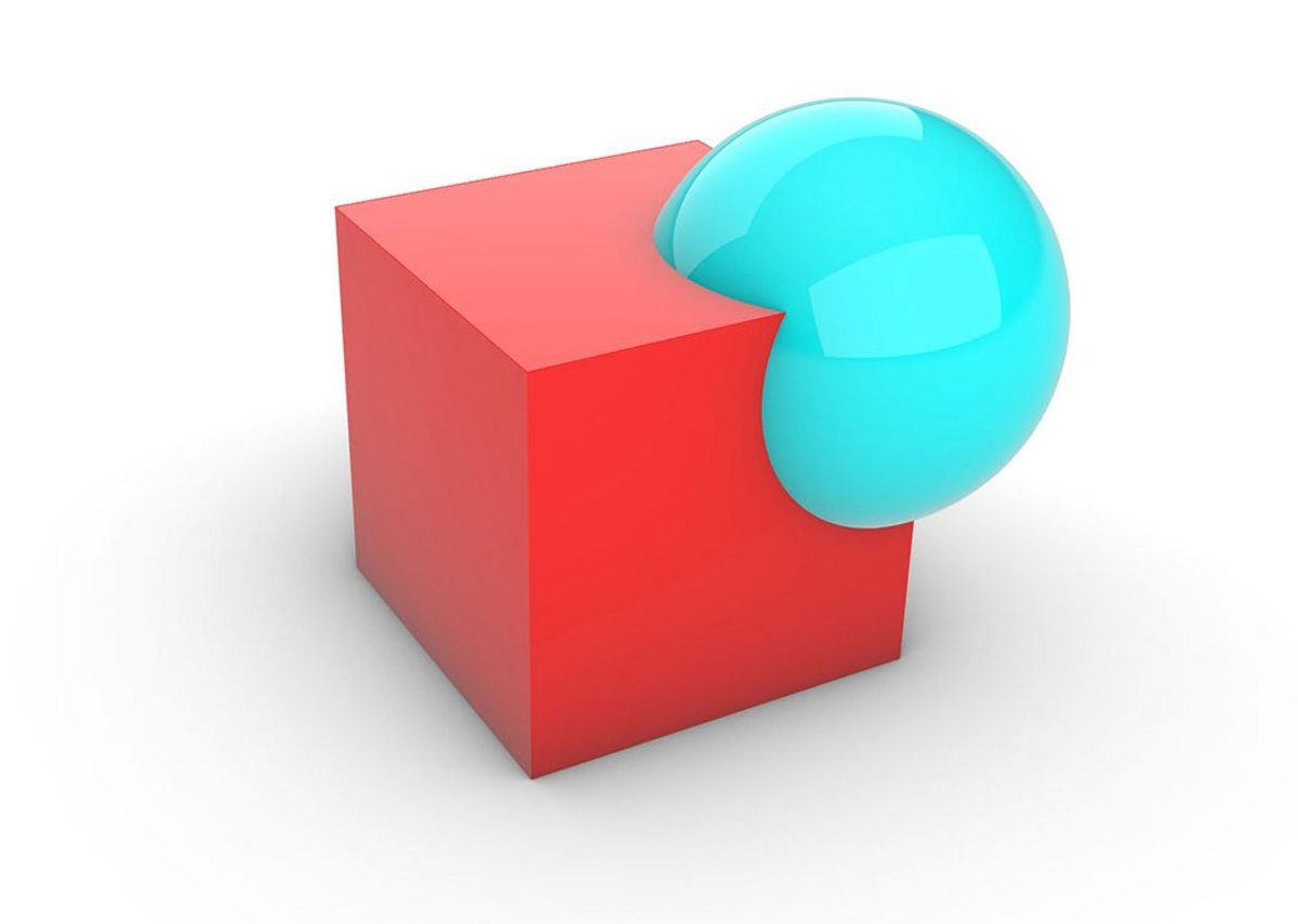 Boolean difference: A 3D object (blue) is used to subtract from the volume of another 3D object.