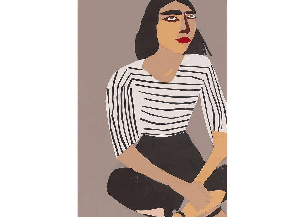 Chantal Joffe: Study for 'A Sunday Afternoon in Whitechapel' I, 2017, for Whitechapel station, collage on paper
