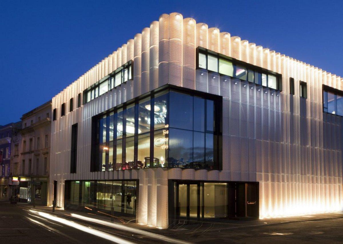 Cadisch MDA Meshtec Ambasciata aluminium cladding with powder coated RAL 9010 at the Quarterhouse arts venue, Folkestone. Alison Brooks Architects.