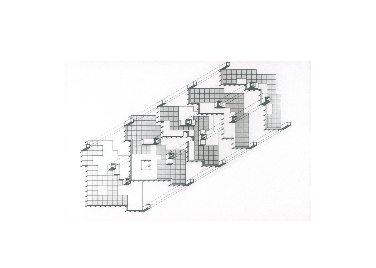 Axonometric of cascading concrete frames of Gateway House, Basingstoke.