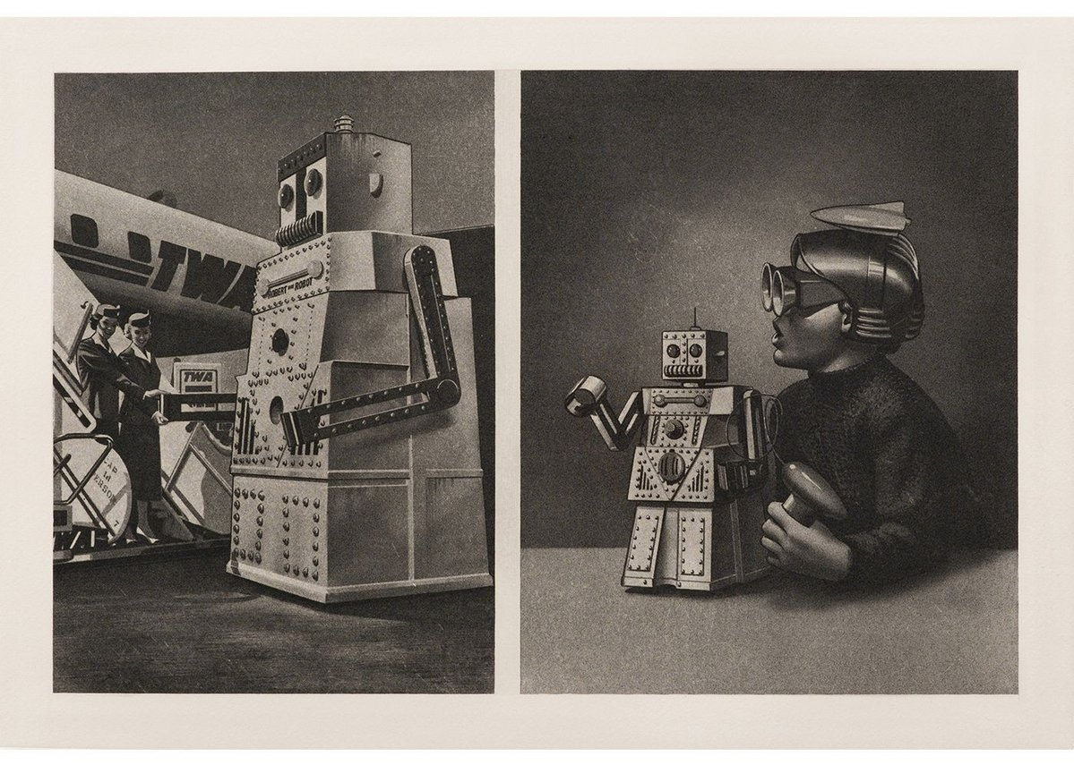 Eduardo Paolozzi Le Robot Robert Voulait Aller a New York Mais Le Passenger Est Trop Lourd / TWA Plain-Steps-Cap 14 Persons with two Stewardesses and Wonder Toy (from the Cloud Atomic Laboratory portfolio), 1971. 