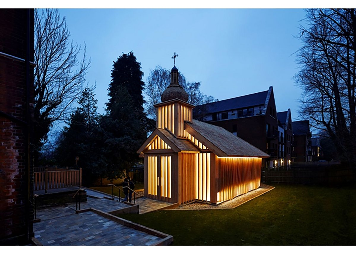The Belarusian Memorial Chapel  designed by Spheron Architects in Woodside Park is dedicated to the victims of Chernobyl.